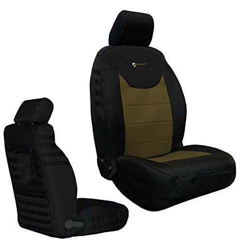 Milspec Molle - Bartact BTJKSC2013FPBC - 2013-2018 Jeep Wrangler JK - Black/Coyote Mil-Spec with MOLLE System Front (Pair) Seat Covers