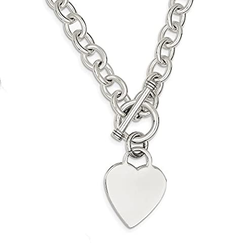 Sterling Silver 18in Engraveable Heart Fancy Link Toggle Necklace (Heart Toggle Chain Necklace)