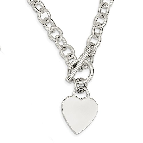925 Sterling Silver Heart Link Toggle Chain Necklace Pendant Charm S/love Fine Jewelry Gifts For Women For Her ()