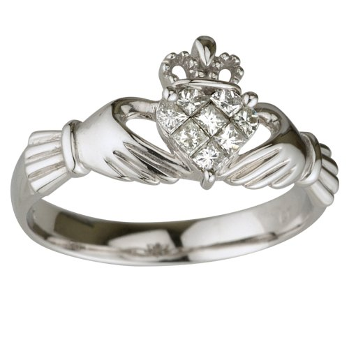 Claddagh Ring 14K White Gold Diamond (0.25 Carat) Sz 8.5