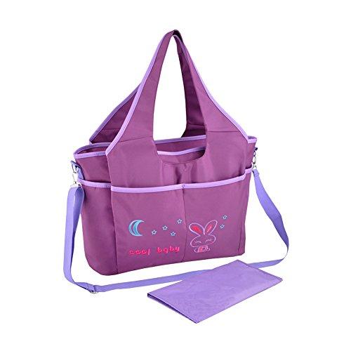 Multifuncional Bolsa de Cambiador Pañales de Bebé Totalizador de Momia Bolsa de Hombro (azul) púrpura