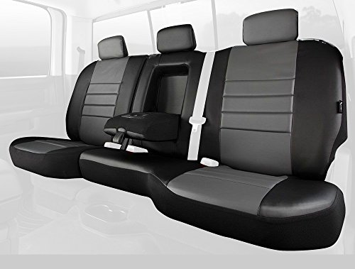 Custom Chevy Truck Seats - Fia SL62-92 GRAY Custom Fit Rear Seat Cover Split Seat 60/40 - Leatherette, (Black w/Gray Center Panel))