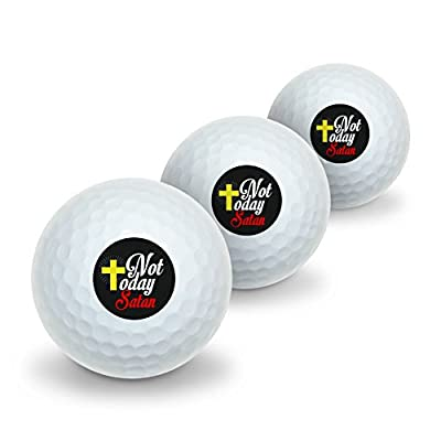 Not Today Satan Cross Christian Religious Novelty Golf Balls 3 Pack