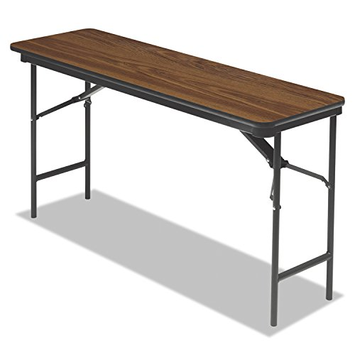 "Iceberg ICE55275 Premium Wood Laminate Folding Table with Brown Steel Legs, 18"" Length x 60"" Width x 29"" Height, Oak"