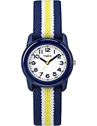 Boys TW7C05800 Time Machines Analog Resin Blue/Yellow Stripes Elastic Fabric Strap Watch