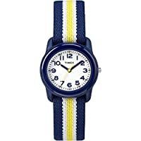 Timex Boys TW7C05800 Time Machines Analog Resin Blue/Yellow Stripes Elastic Fabric Strap Watch