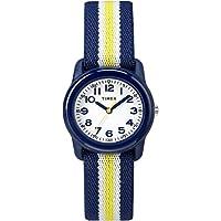 Timex Boys TW7C05800 Time Machines Analog Resin Blue/Yellow Stripes Elastic Fabric Strap Watch