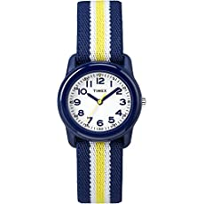 Timex Kids TW7C05800 Blue Resin Watch with Blue/Yellow Striped Elastic Fabric Strap