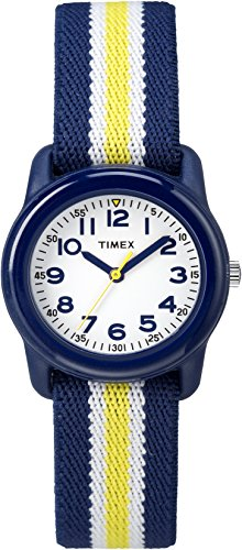 Timex Boys TW7C05800 Time Machines Analog Resin Blue/Yellow Stripes Elastic Fabric Strap Watch ()
