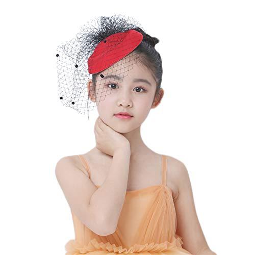 Women Fascinator Hats Derby Wedding Hats Vintage Hat Pillbox Hat Woollen Felt Hat Veil Party Hat Headwear for Women Lady Girls ()