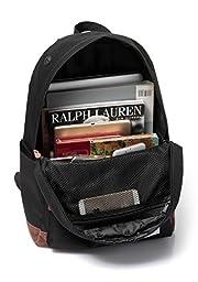 Vaschy Unisex Classic Lightweight Water-resistant Campus School Rucksack Travel Backpack Black Fits 14-Inch Laptop