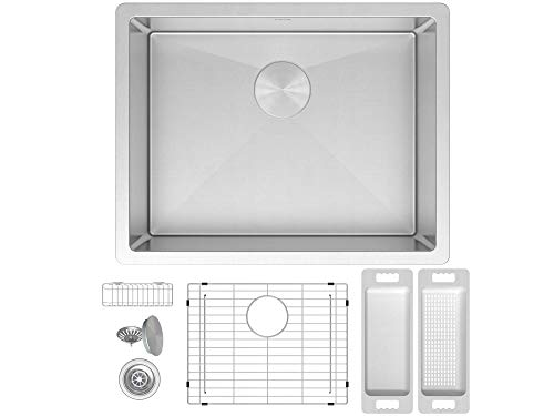 (ZUHNE Modena 23 x 18 Inch Single Bowl Under Mount 16 Gauge Stainless Steel Kitchen Sink W. Grate Protector, Drain Strainer and Mounting Clips, Fits 27