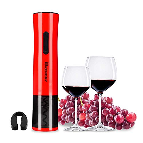 Renogy Rechargeable Electric Wine Bottle Opener 700 mAh Stainless Steel ABS Cordless Corkscrew with Removeable Foil Cutter Black and - Corkscrew Abs
