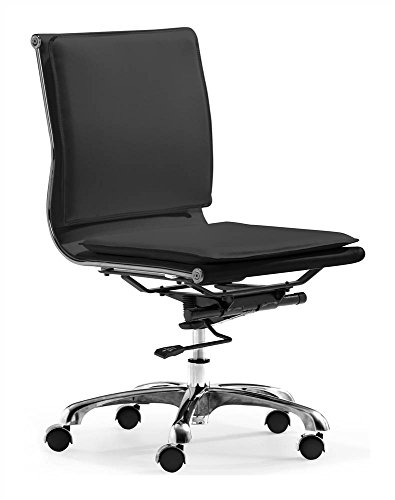 Zuo Lider Plus Armless Office Chair, Black