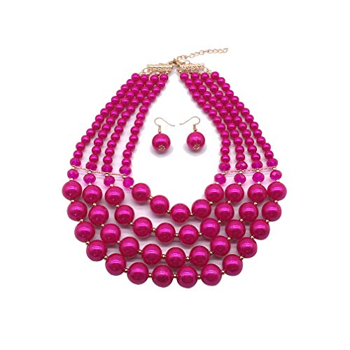 Halawly 5 Colors Statement Beaded Layered Strands Resin Big Simulated Pearls Multi Strand 4 Layer Collar Evening Necklace (Rose Red) ()