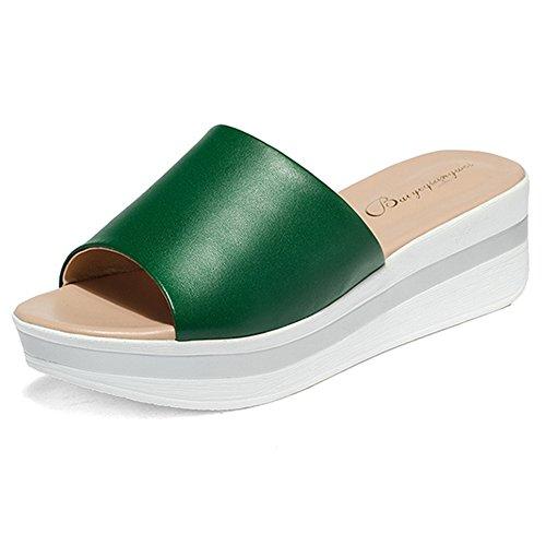 Btrada Kvinners Plattform Lysbilder Myk Såle Skli Mid Kile Sandaler Grønne