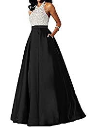 Satin Prom Dress Halter Beaded Sequins Backless Long Evening Dresses