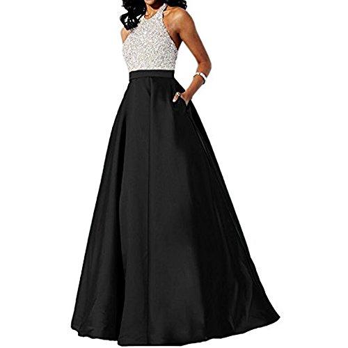 Black Sequin Halter Dress - Andybridal Satin Prom Dress Halter Beaded Sequins Backless Long Evening Dresses Black