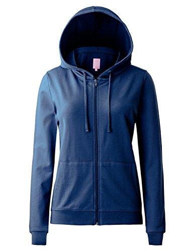 Regna X Women's Long Sleeve Kangaroo Pocket Full Zip Hooded Sweatshirt Navy S