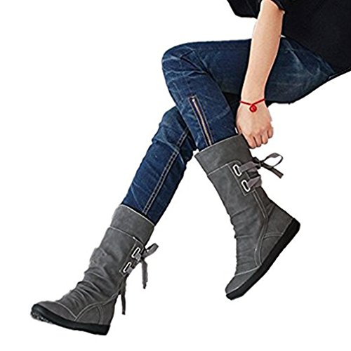 Blivener+Women%27s+Winter+Back+Lace+Up+Boot+Mid+Calf+Snow+Boots+Grey+US+7