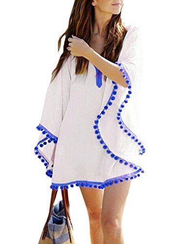 Beachwear Bagno Bianco da Del Solido Blouse Top Embryform Costume Copricostume Tunica Donne xq57wpwB6