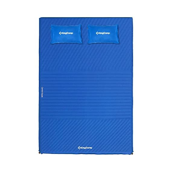 "KingCamp Double Self Inflating Camping Sleeping Pad Triple Zone with 2 Pillows 2 Full inflating size 78"" x 51.2"" x 1.6""; TRIPLE ZONE design make this pad more comfortable; 100% Micro Brushed 75D Polyester, damp-proof, eco-friendly and durable. Two self inflating PILLOWS to add more comfort Two durable non-corrosive brass valves provide rapid inflation and deflation. It is convenient to adjust the comfort level of this self-inflating camp pad Comes with two compression straps, an oversized oxford carrying bag and repair kit (Glue Not Included); Essential for camping, hiking, home living and any other outdoor activities"