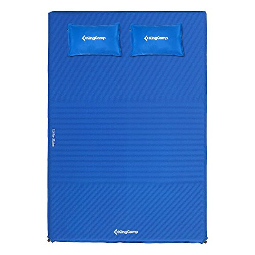 KingCamp Triple Zone Comfort Double Self Inflating 75D Micro Brushed Sleeping Pad Mattress with 2 Pillows (Cobalt Blue) ()