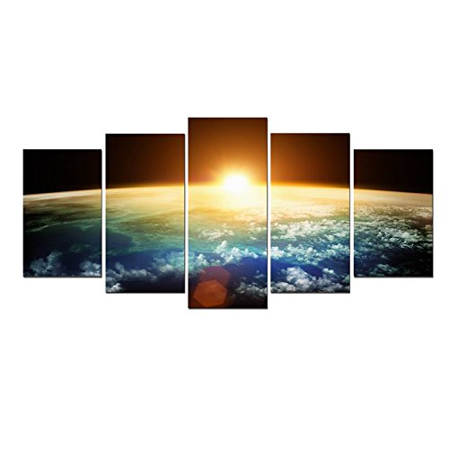 Pyradecor The Earth 5 Panels Extra Large Modern Landscape Artwork Giclee Canvas Prints Space Pictures Paintings on Canvas Wall Art Ready to Hang for Living Room Bedroom Home Decor XL