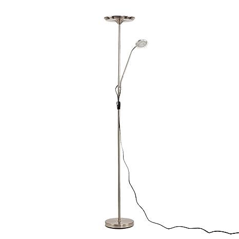 Modern Satin Nickel 25w Integrated LED Adjustable Father & Son Uplighter Floor Lamp 3000K Warm White