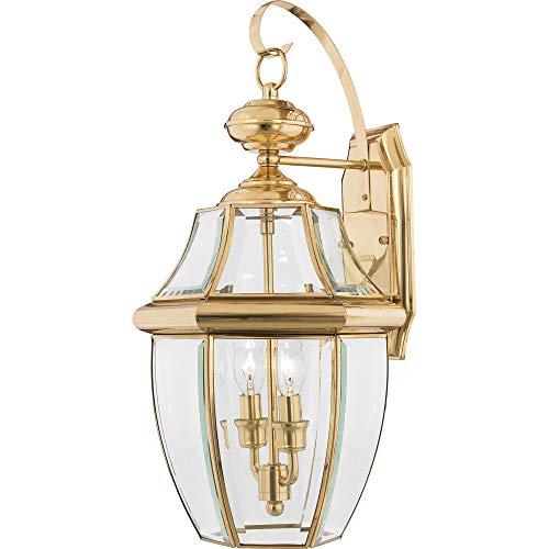 (Quoizel NY8317B Newbury Outdoor Wall Lantern Wall Mount Lighting, 2-Light, 120 Watts, Polished Brass (20
