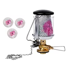 MonkeyJack Mini Camping Gas Lantern Propane Lamp Tent Hanging Light with Key Ring + 3Pcs Replacement Mantles for Outdoor Survival Tool
