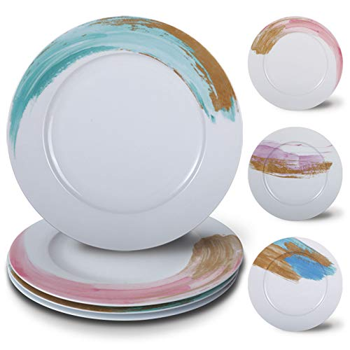 Biching Dinner Plate for Birthday Party ,10.5 Inch Dinnerware Plates Set,Ceramic Dinner Plates Set of 4 ,Durable…