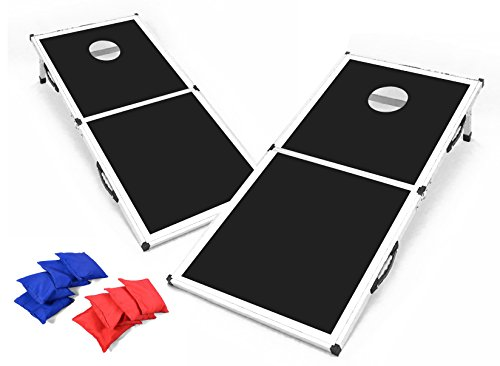 Backyard Champs 2 x 4 MDF Board with Aluminum Frame Cornhole Set (8 Bags Included) - Black