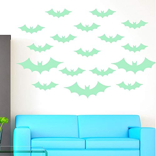 13 PCS Halloween Decor Removable Glowing Bats, Tearcam Glow in The Dark Bats Stickers Wall Night Luminous Decals Fluorescent Wall Decorations ()