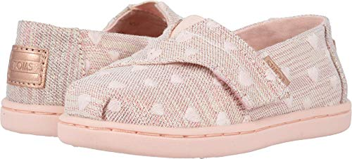 TOMS Kids Baby Girl's Alpargata (Toddler/Little Kid) Rose Cloud Heartsy Twill Glimmer Embroidery 5 M US Toddler