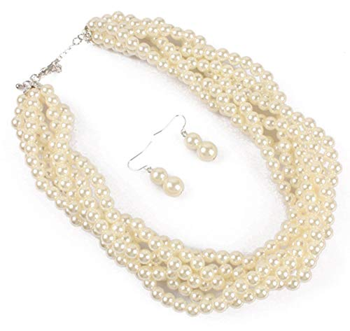 Shineland Twisted Multilayer Strand Faux Pearls Beads Cluster Choker Necklace And Earrings Set (White) ()