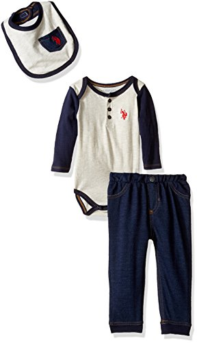 (U.S. Polo Assn. Baby Boys' Long Sleeve Henley Creeper, Denim Knit Pant, and Bib, Oatmeal, 6-9 Months)