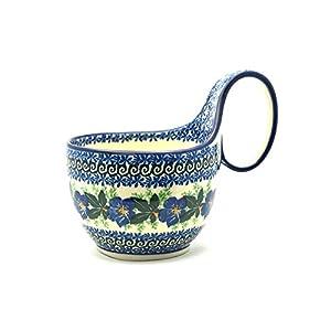 Polish Pottery Loop Handle Bowl – Blue Pansy