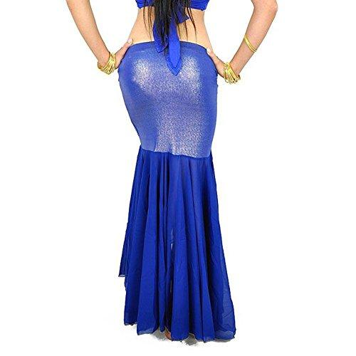 AvaCostume Tribal Mermaid Maxi Skirt for Belly Dance Gypsy Blue