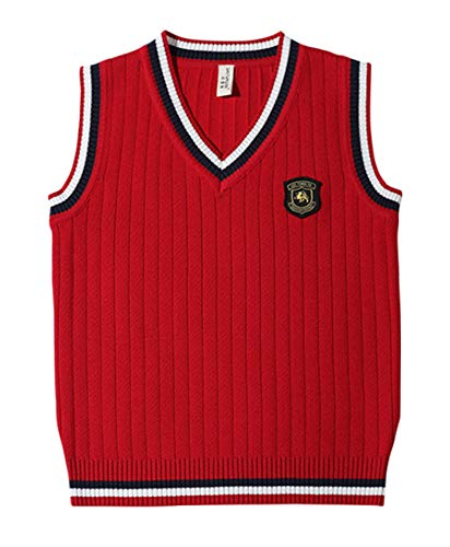 ezShe Boys V Neck Sleeveless Pullover Cable Kinted School Sweaters, Red 2XL