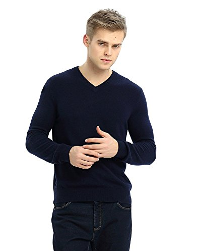 MIUK 2017 New Men's 100% Cashmere Basic Slim Sweater V Neck Long Sleeve Pullovers Navy - Brands Mens Expensive Most