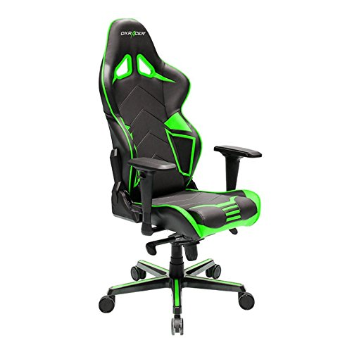 DXRacer Racing Series DOH/RV131/NE Office Chair Gaming Chair Carbon Look Vinyle Ergonomic Computer Chair eSports Desk Chair Executive Chair Furniture with Free Cushions (Black/Green) (Multi Functional Desk)