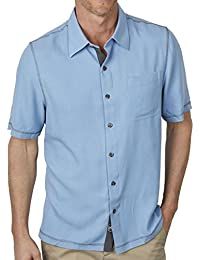 Men's Solid Traditional Fit Silk Blend Short Sleeve Shirt