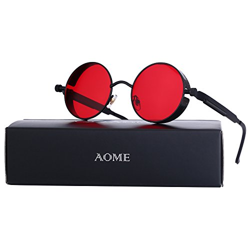 AOME Gothic Steampunk Round Sunglasses Metal Frame Mirrored Circle Lens Glasses (Black&Red, (Order Contact Lenses)
