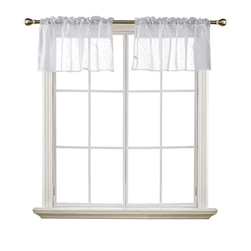 - Deconovo Rod Pocket Window Treatment Sheer Valance Curtains Dots Pattern Jacquard Valance Sheer Curtains for Bedroom 52X18 Inch Off White 2 Panels