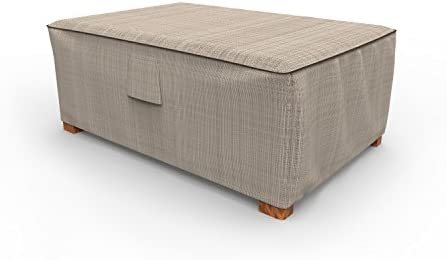 Budge P4W01PM1 English Garden Patio Ottoman Cover Heavy Duty and Waterproof, 18 High x 33 Wide x 25 Long, Two-Tone Tan