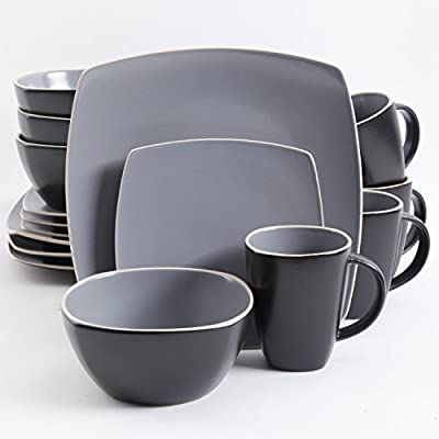 Gibson Elite Dinnerware Set, Soho Lounge Matte Square, Gray - Gibson Elite SoHo lounge 16Piece dinnerware set including: 4 dinner plates, 4 dessert plates, 4 Soup/salad bowls, 4 mugs (12oz) Beautifully designed stoneware material painted with eloquent tutone reactive glaze Conveniently stack dishes in cabinets and instantly save precious space - kitchen-tabletop, kitchen-dining-room, dinnerware-sets - 41nRDDeMkML. SS400  -