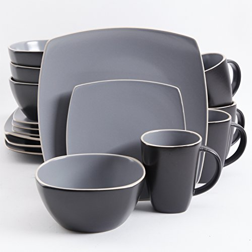 Gibson Home 102266.16RM Soho Lounge Square 16-Piece Dinnerware Set Service of 4, Stoneware, Grey, Gray (Gray Dish Sets)