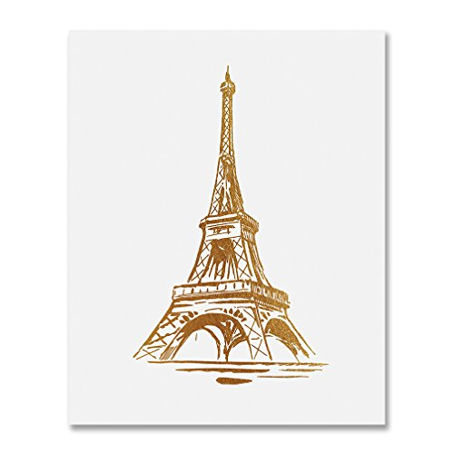 Eiffel Tower Gold Foil Print Wall Art Poster Paris Home Decor France Poster French Art Metallic Poster 8 inches x 10 inches