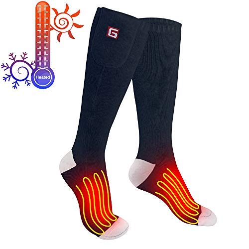 Greensha Rechargeable Electric Heated Socks Cold Weather Thermal Heated Sox 3 Levels Temperature Control Chronically Cold Feet ,Indoor Outdoor Activities
